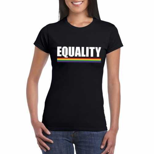 Equality shirt zwart regenboog vlag dames