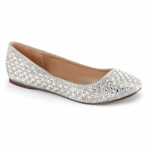Feest ballerina schoenen zilver glitters dames
