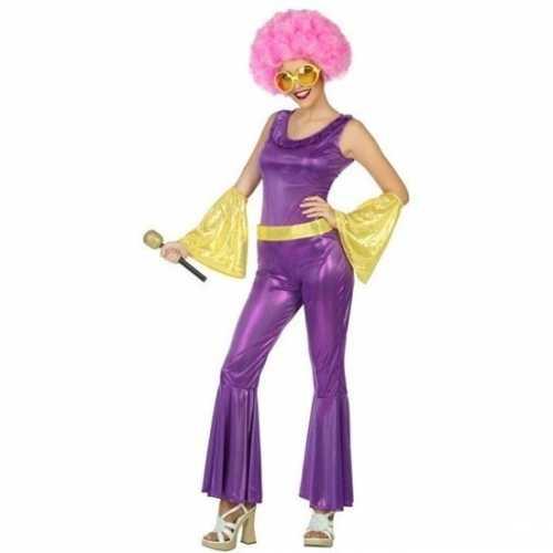 Feest/carnaval disco verkleedkleding goud/paars dames