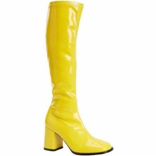 Feest gogo laarzen geel blokhak dames