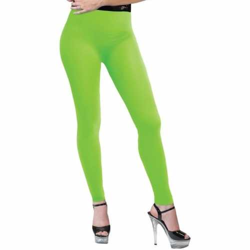 Feest legging neongroen dames