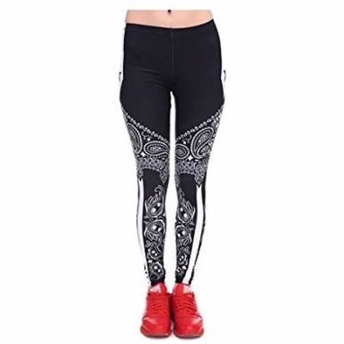 Feest legging paisley zwart/wit opdruk dames