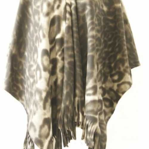 Fleece poncho panter print