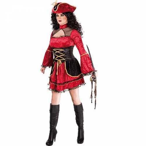 Fluwelen piratenjurkje in het rood