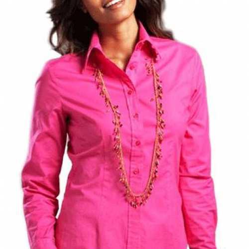 Fuchsia longsleeve overhemd dames