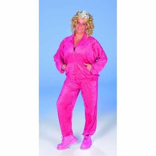 Fuchsia roze dames verkleedkleding fluweel look