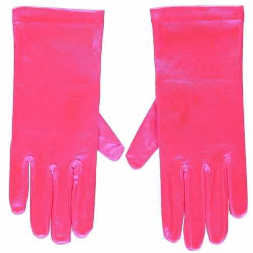 Fuchsia roze gala handschoenen kort van satijn 20