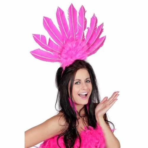 Fuchsia roze haarband veren dames