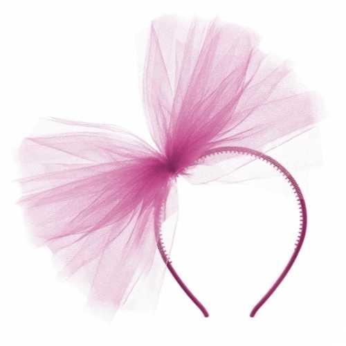 Fuchsia roze tule diadeem