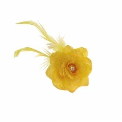 Gele haarbloem elastiek