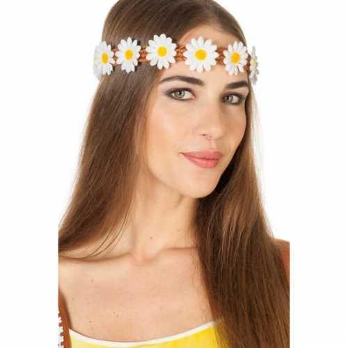 Gevlochten haarband margrietjes