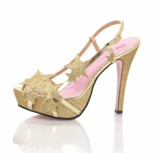 Glitter gouden pumps sterren