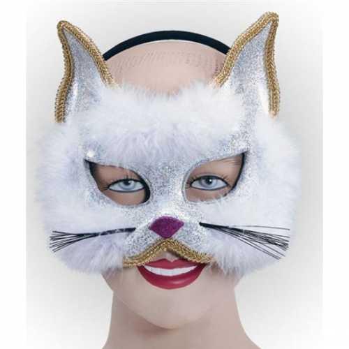 Glitter katjes masker wit bont