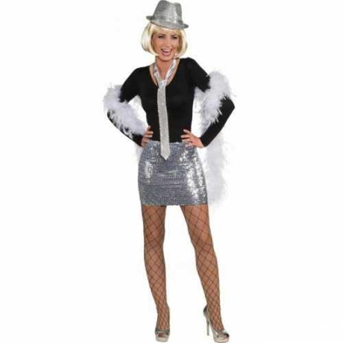 Glitter pailletten rok top zilver
