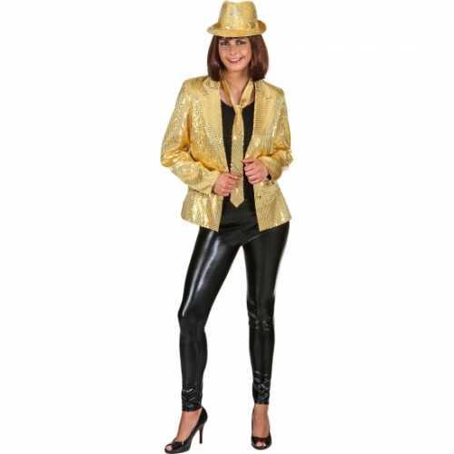 Gouden dames disco colbert pailletten