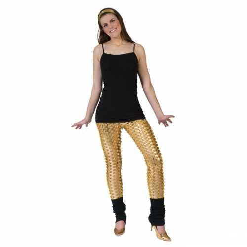Gouden disco legging gaten
