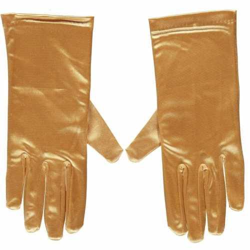 Gouden gala handschoenen kort van satijn 20