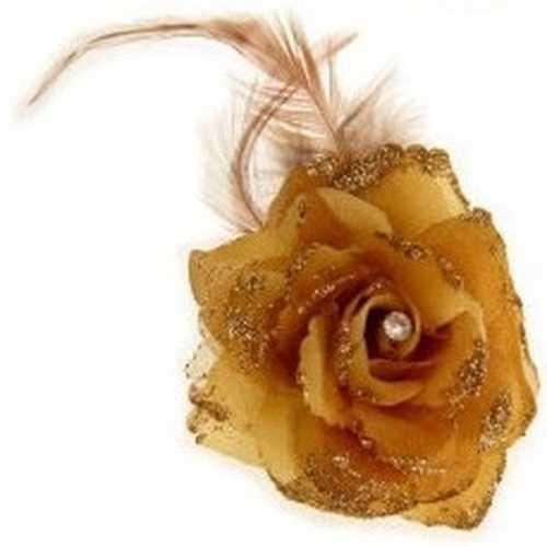 Gouden haarbloem elastiek klem