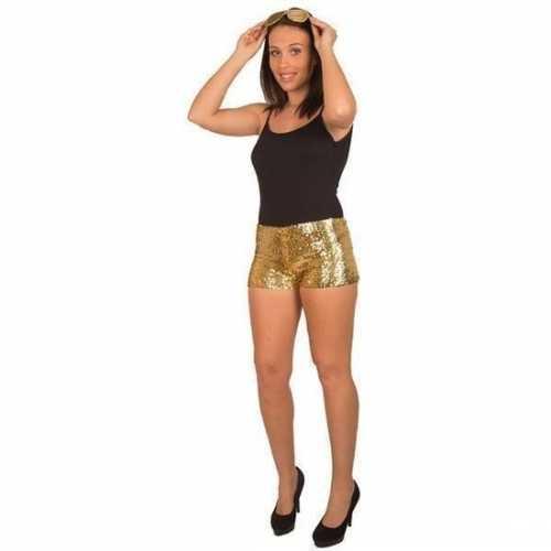 Gouden pailletten hotpants dames