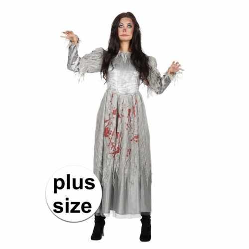 Grijze jurk grote maat bloed dames