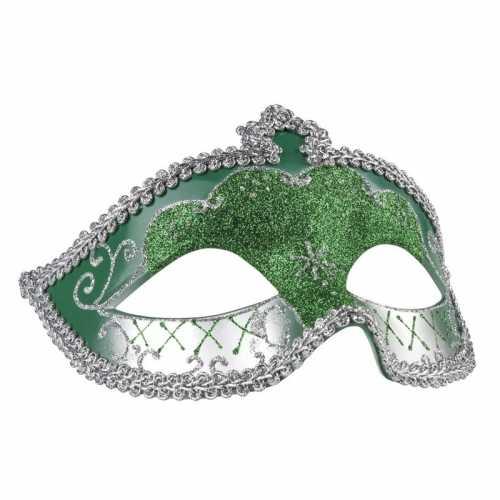 Groen/zilver glitter oog masker dames
