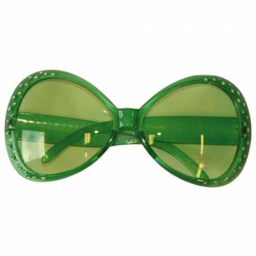 Groene feest bril diamantjes