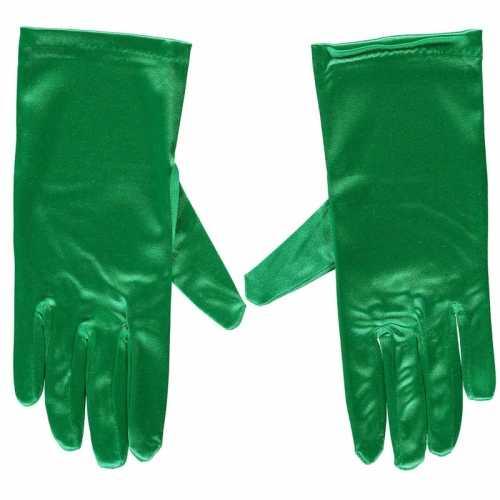 Groene gala handschoenen kort van satijn 20