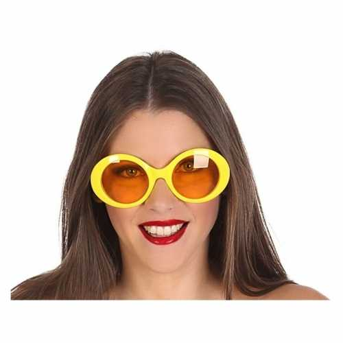 Grote gele ronde verkleed zonnebril