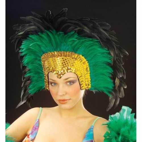Grote luxe hoofdtooi veren groen
