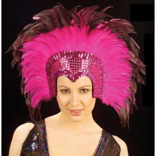 Grote luxe hoofdtooi veren roze