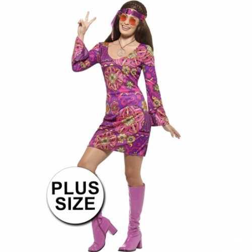 Grote maat dames hippies verkleedkleding jaren 60