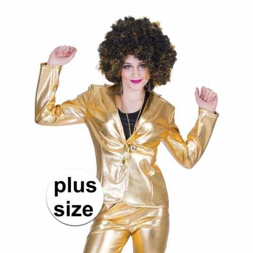 Grote maat gouden 70s disco verkleedkleding jasje dames
