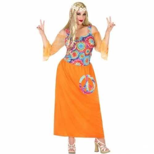 Grote maat oranje flower power jurk dames
