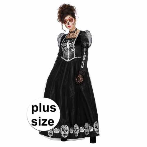 Grote maat zwarte jurk schedels dames