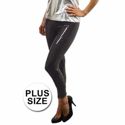 Grote maat zwarte leggings pailletten