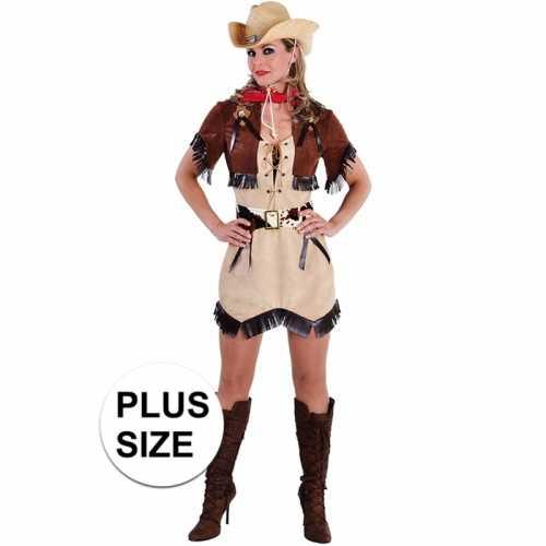 Grote maten beige cowgirl jurk bolero dames