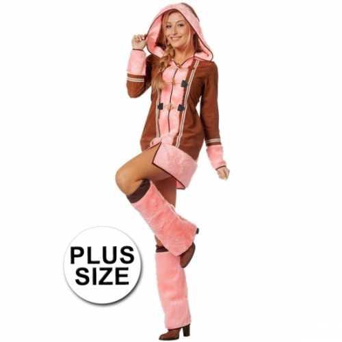 Grote maten dames eskimo verkleedkleding bruin/roze