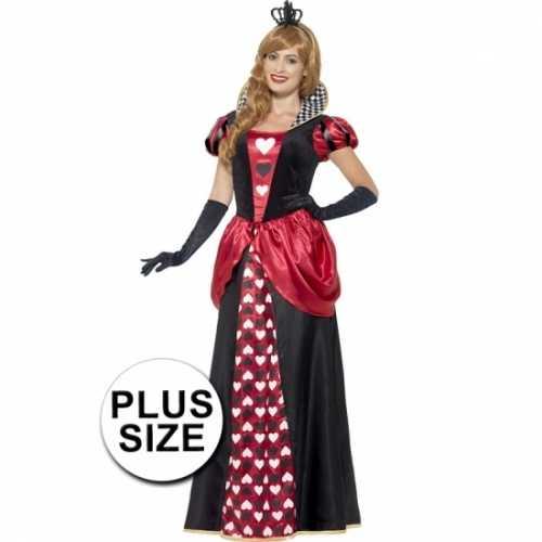 Grote maten dames rode koningin verkleedkleding