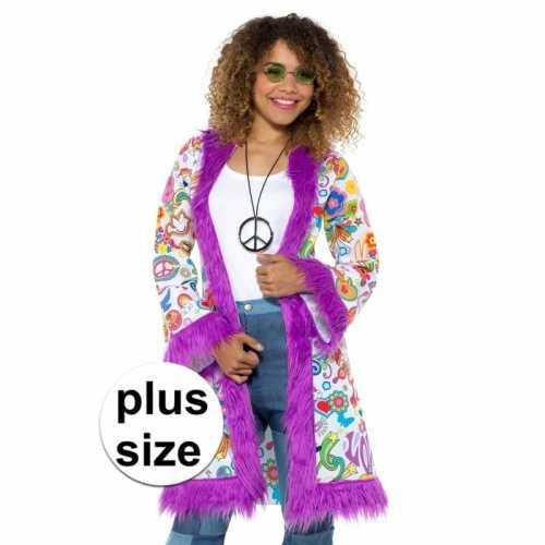 Grote maten hippie groovy pluche jas dames