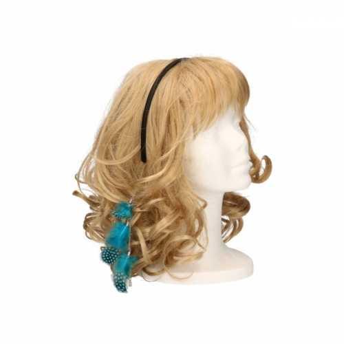 Haarband blauwe veertjes