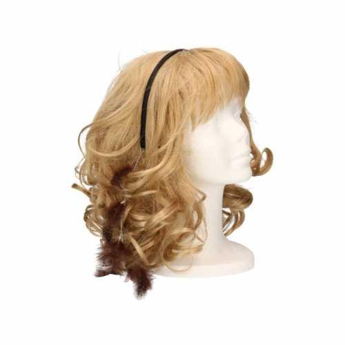 Haarband donkerbruine veertjes