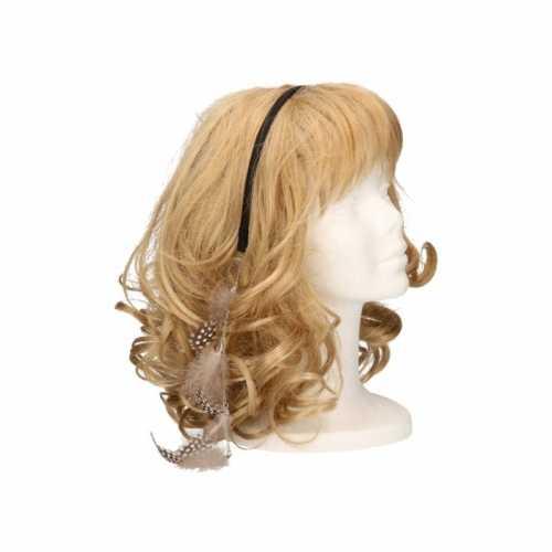 Haarband lichtbruine veertjes