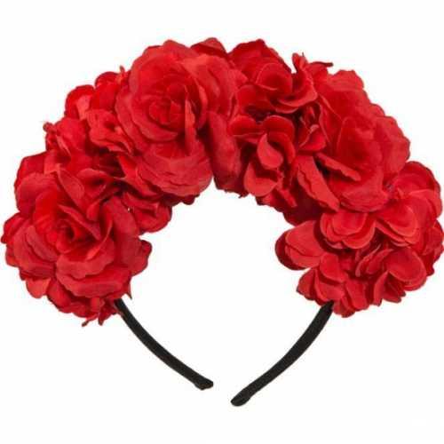 Haarband rode bloemen