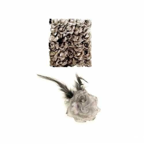 Haarbloem zilver elastiek