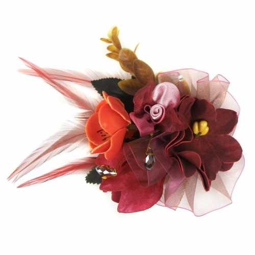 Haarbloemen klem bordeaux rood