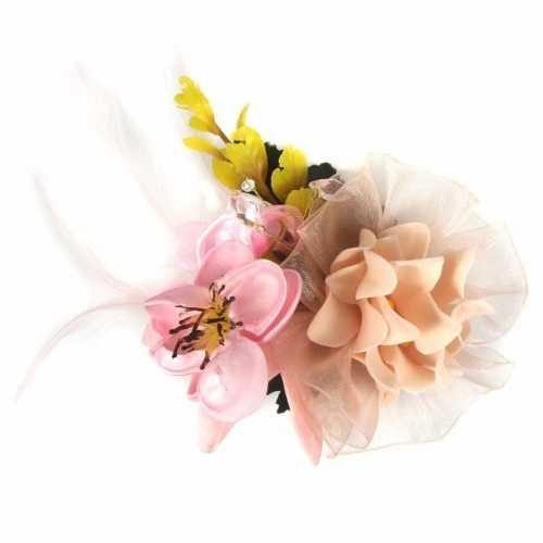 Haarbloemen klem roze/geel