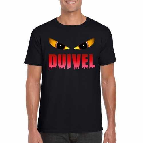 Halloween duivel ogen t shirt zwart heren