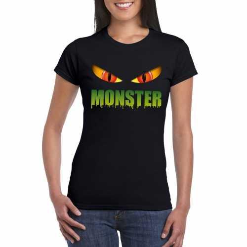 Halloween monster ogen t shirt zwart dames
