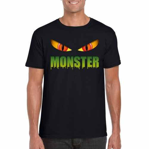 Halloween monster ogen t shirt zwart heren