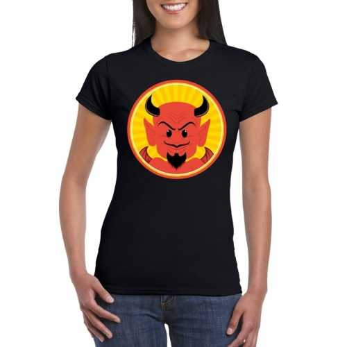 Halloween rode duivel t shirt zwart dames